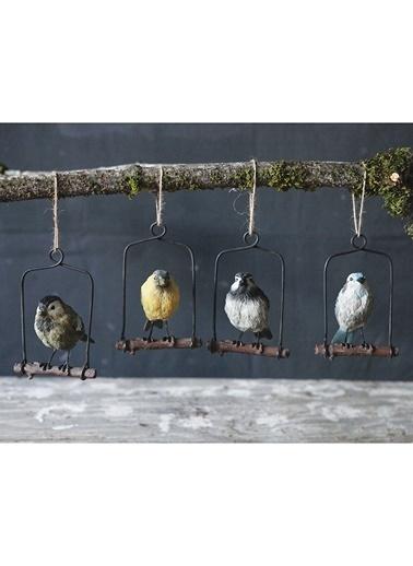 Warm Design Ağaçta Asılı Kuş Obje Renkli